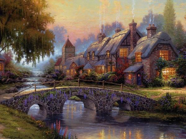 Manoir rivière pont automne
