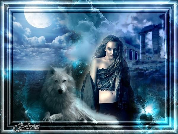 Femme feerique et loup : créa de mon ami Gabriel